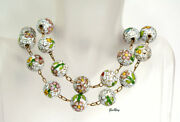 Chinese Export Cloisonne Necklace White Green Antique Chinese Jewelry Vintage