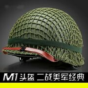 Collectibles Wwii Us Army Green Helmet M1 Replica With Net Canvas Chin Strap Cos
