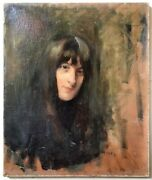 19th Century French Impressionist Realism Antique Oil Painting Portrait Woman