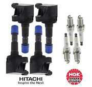 Hitachi/ngk 4 Direct Ignition Coils And 4 Spark Plugs Kit For Honda For 07-08