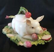 Fitz And Floyd French Market Pig Soup Tureen And Platter