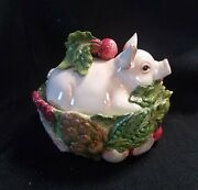Fitz And Floyd French Market Pig Covered Dish 10 1/2