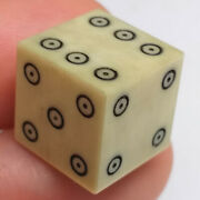 Antique Original 1/2 Inch Bone Gambling Dice With Engraved Dots And Rings