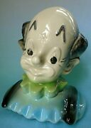 Vintage American Bisque Pottery Clown Chalkboard Cookie Jar Lid Only