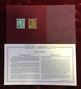 B3 Usa Commemorative Stamp With 22kt Gold Replica Great Americans Paul Revere
