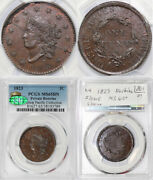 1823 1c Private Restrike Coronet Or Matron Head Large Cent Pcgs And Cac Ms 65 Bn