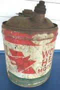 Wolfand039s Head Oil 5 Gallon Can W/wood Handle Early Oil City Pa Vintage Anitque