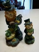Leprechaunds 1 With Snail. 2 Figurines Table Decorations St Patrick's Day Decor