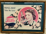 Vintage Pepsi Cola Framed Pictures And Tin Pepsi Lg Bottle Tops - See Pics