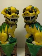 Pair Large 12 Antique Polychrome Foo Dogs Statues Circa 1900 Yellow Green