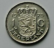 1975 Netherlands Juliana Coin - 1 Gulden - Au - Cameo Lustre With Edge Lettering