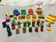 Vintage Fisher Price Little People Wooden And Plastic Vehicles High Chair And Stove