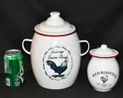 2 Farmhouse Rooster Canisters White Enamel Lidded Canisters Small Large New