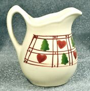 Vintage Hartstone Pottery 7oz. Creamer Hearts And Evergreen Fir Trees Country Ohio