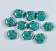 Natural Blue Copper Turquoise Hexagon Shape Cabochon Loose Gemstone 16mm To 20mm