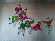 Vintage Silkart 10 Asian Boys Playing. Extremely Rare1900 Hand Sewing