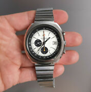 Vintage Bucherer 9801 Steel Chronograph With Omega Automatic Movement 1970and039s Top