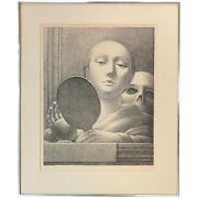 George Tooker Limited Edition Surrealist Lithograph Mirror 1978 58/125