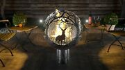 Four Season Themed Fire Pit Patio Heater Solid Steel Sphere Sculpture