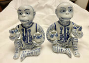 Vintage Asian Pair Monkey Cobalt Blue White The Canton Collection Candle Holders
