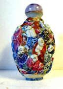 Antique Chinese Porcelain Snuff Bottle Molded Eighteen Lohans - Early 19th Cent