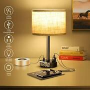 Table Lamp With Alarm Clock, Touch Control Desk Lamp With 2 Usb Portsand 2 Ac Outl