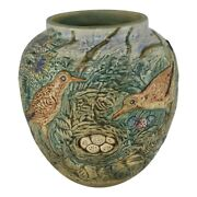 Weller Pottery Glendale Two Birds And A Nest Large Bulbous Vase