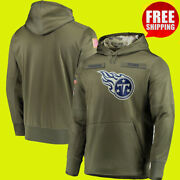 Menand039s Tennessee Titans Olive Sweatshirt Salute Service Sideline Therma Hoodie