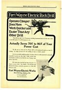 1911 Fort Wayne Electric Works Ad Rock Drills For Mining Jobs - Madison, Wi