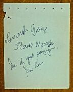 Very Rare Stevie Wonder Signed Album Page With Full Jsa Letter Assisted Auto