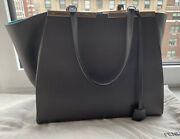 Fendi Italy Large 3 Jours Gray Leather Turquoise Suede Tote Handbag 3000