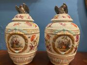 Augustus Rex Pair Porcelain Covered Urns With Eagle Finials Lids