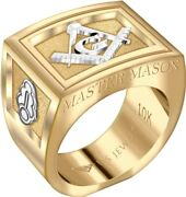 Us Jewels Menand039s Master Mason 14k Or 10k Two Tone Yellow And White Gold Ring