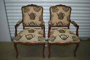 Ethan Allen Venice Bergere Chairs French Upholstered Carved Maple Pair 13-7106