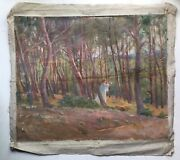 French Oil Impressionism Symbolism Nabi Painting Women In The Wood To Restore
