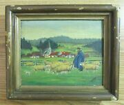 Old Painting Amish Farm Scene Church Steeple Sheep Signed E. Hertler