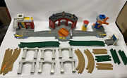 Geo Trax Lot Fisher Price Train Set Roundhouse Windmill Village + More 35 Pcs