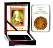 1776 Russian 5 Kopek Catherine The Great Coinngc Certified Boxed With Story