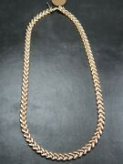 Vintage 9ct Gold Fishtail Chevron Link Necklace Chain 18 Inch 1991