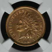 1864 L Indian Head Certified Au Details By Ngc, 3, Nice Red Brown Initialed Coin