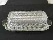 Vintage Cut Glass Anchor Hocking Wexford Covered Butter Dish With Lid