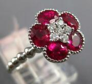 Estate 1.89ct Diamond And Aaa Ruby 18kt White Gold Flower Star Filigree Love Ring