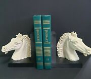 Bookends A. Giannelli Pair Equestrian White Horse Head Statue Sculpture Vintage
