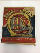 Vintage Antique Louis Marx Shoot Th' Chutes Skill Ball Marble Game 1950s W Stand