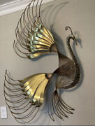 Signed C Jere Bird Of Paradise Peacock Metal Brass Wall Sculpture Mid-century