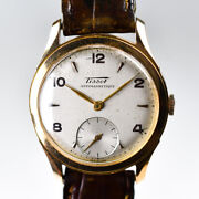 Tissot 18k Yellow Gold 1950s 33mm First Twisted Lugs Case Jp Gold Tang Rare