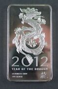 2012 - 10 Oz .999 Pure Silver - Year Of The Dragon