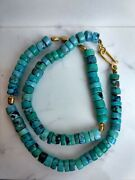 Darlene De Sedle 22k Turquoise And Yellow Gold Rice Nuggets Necklace