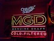 Rare Very Lg. Vintage Mgd Miller Genuine Draft Neon Sign 38andrdquox 43andrdquo 2 Transformers
