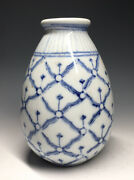 Antique 19th C. Porcelain Blue And White Fish Scale Canton Chinese Molded Vase